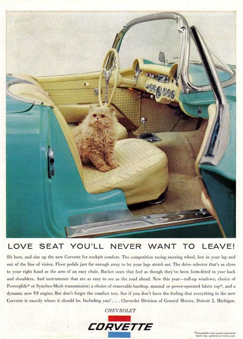 """""""The Cat and the Corvette"""" pubblicità sulla rivista New Yorker del 19 maggio 1956."""