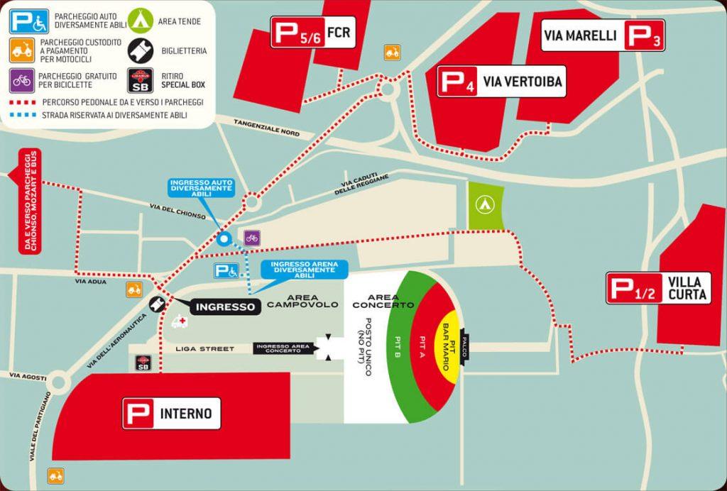 La mappa dell'arena inclusi i parcheggi dell'ultimo concerto di Ligabue a Campovolo